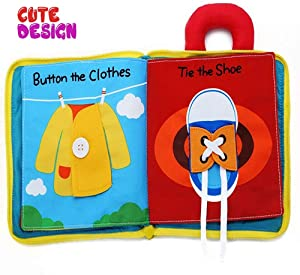 beiens My Quiet Books - Soft Activity Books for Babies, Toddler Learning Sensory Story Book, Life Skill Education & Identify 3D Cloth Books for Infants, Non Toxic Boys and Girls Soft Toys