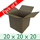 """Pack of 5 Strong Cubed Mail Removal Packing Storage Cartons - Double Wall Cardboard Boxes - 20"""" x 20"""" x 20"""" / 508mm x 508mm x 508mm"""
