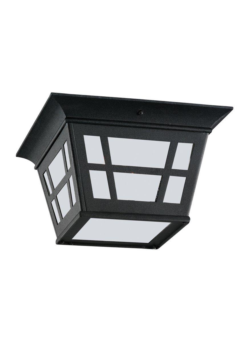 Sea Gull Lighting 79131-12 Two Light Outdoor Ceiling Flush Mount Black