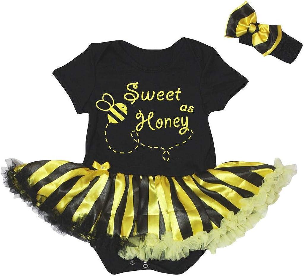 Petitebelle Sweet As Honey Bodysuit Black Yellow Striped Baby Dress Nb-18m