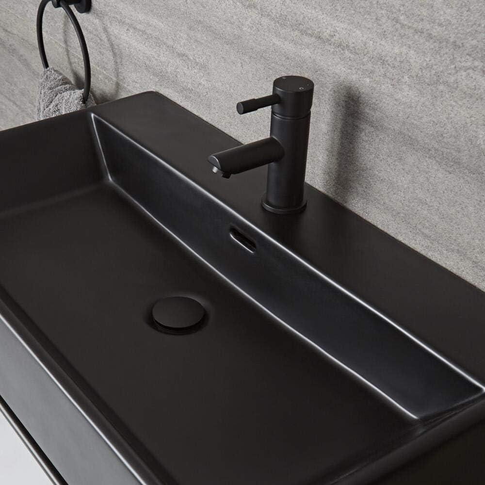 Milano Nero 750mm x 420mm Black Ceramic Modern Wall Hung Bathroom Basin Sink with One Tap Hole