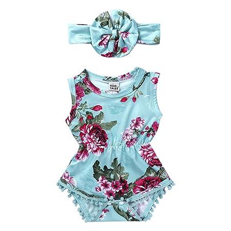Chándal para bebé niña con diseño floral, sin mangas, para 0-18 ...