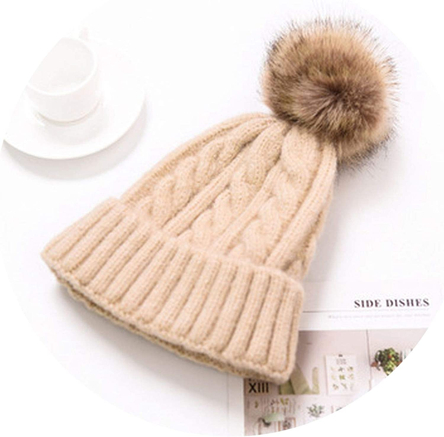 Youth-Song Knitted Hat Caps ren Girl Boy Wool Bobble Pompom Beanies Hats,Light Gray Size 48-53cm