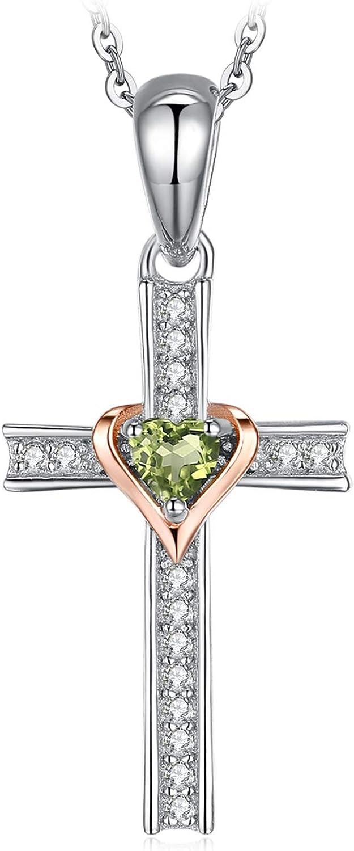 JewelryPalace Colgante Corazón 0.2ct Peridoto Genuino Cruz Collar Plata de ley 925 cadena de caja 45cm