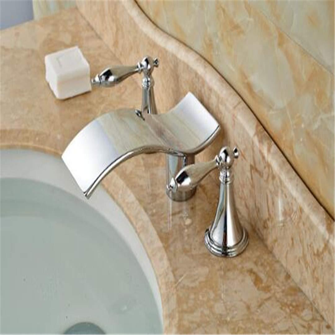 Grifo Grifo Cocina Grifo Ducha Grifo Grifo De Cascadachrom Messing Badezimmer Basin Wasserhahn Doppel Griffe Vanity Sink Mixer Deck Montiert