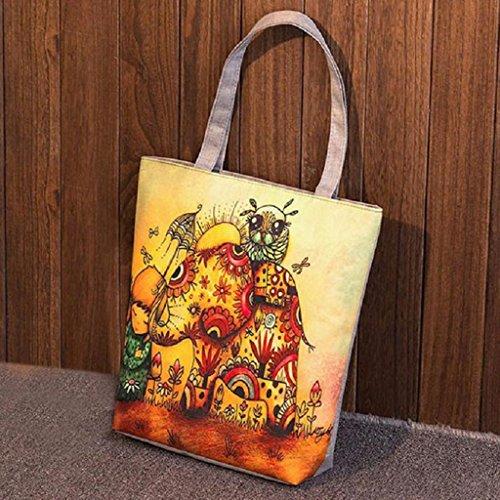 Elephant Bags JAGENIE Women Handbags Girl Printing Shopping 2 Shoulder Cartoon Bag 5 Canvas vE6qEwH