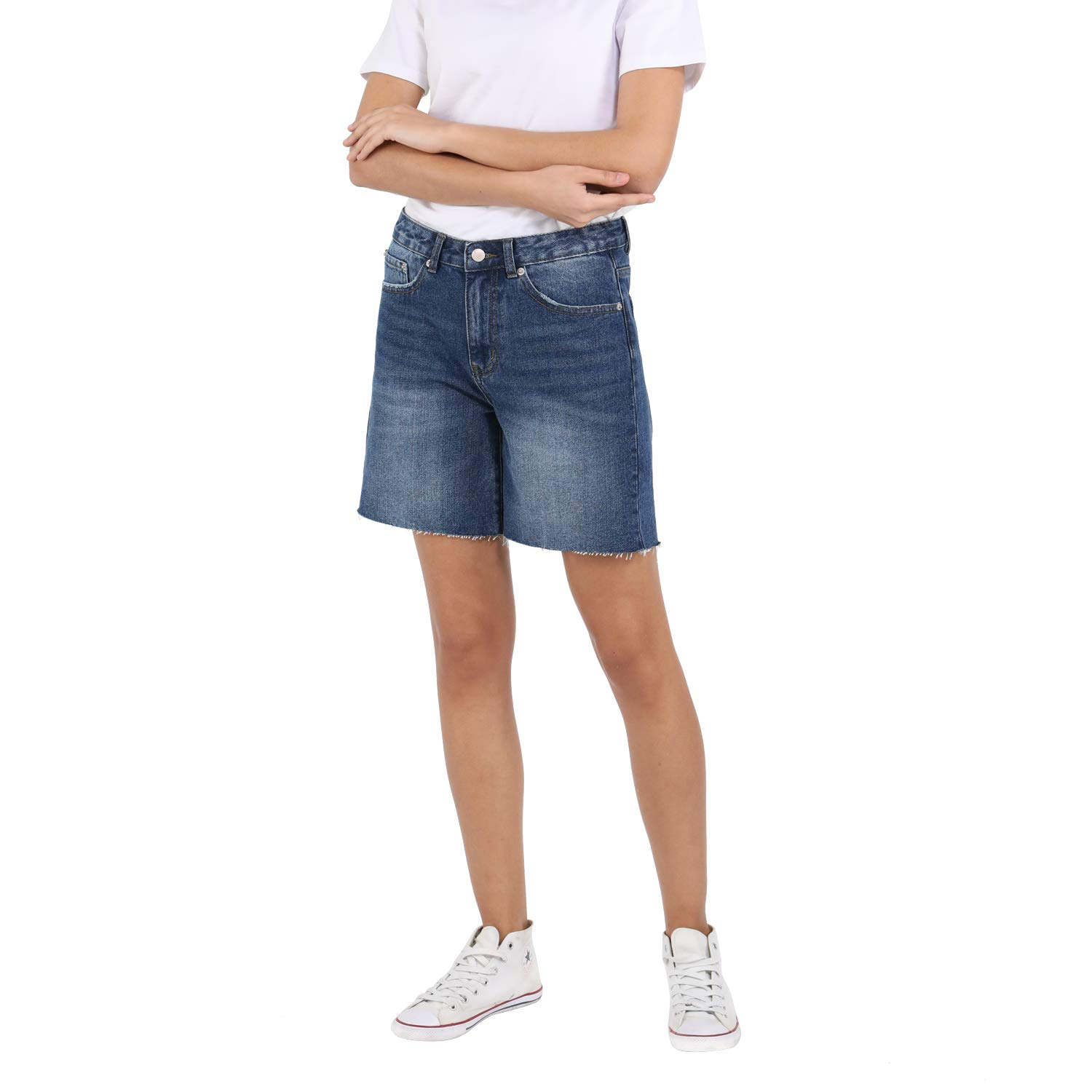 Womens High Waisted Denim Shorts Bermuda Shorts Hot Pants Shorts Inelasticity High Waist Trousers Boyfriend Look Jeans Short Casual Shorts Blue