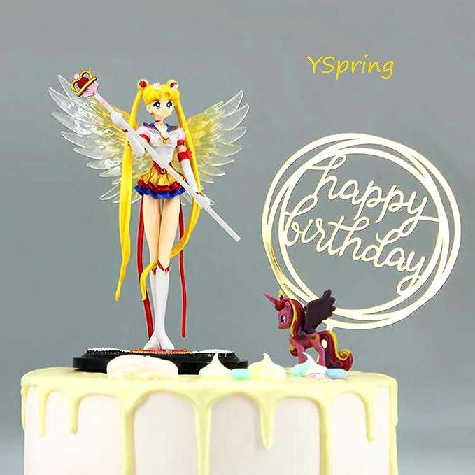 Amazon.com: YSpring Exquisite Anime Figure Sailor Moon Tsukino Usagi Princess PVC Action Figure Collectible Model Toy Cake Decorative Ornament(Style D): Toys & Games