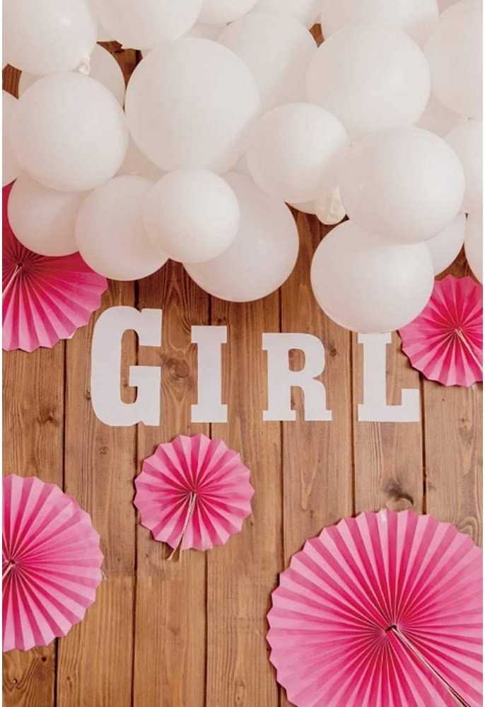 YEELE 6x8ft Rustic Girl Birthday Photography Background Pink Paper Flower on Brown Wood Floor Backdrop Photo Wall Baby Shower Decoration Kids Girl Daughter Artistic Portrait Photoshoot Props Wallpaper