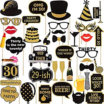 Adult Chic 30th Birthday Photo Booth Props34Pcs For Her Him Gold And Black Favor DecorationsDirty Thirty Party Supplies Men
