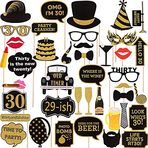 30th Birthday Photo Booth Props(34Pcs) for Her Him, Gold and Black Birthday Favor Decorations,Dirty Thirty 30th Birthday Party Supplies for Men Women