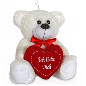 "Plüschbär ours en peluche blanc avec inscription en allemandich liebe dich"" ..."