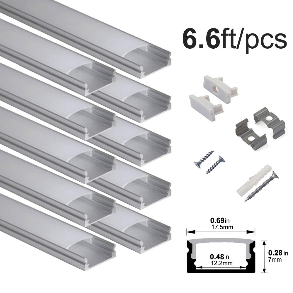 hunhun 10-Pack 6.6ft/ 2Meter U Shape LED Aluminum Channel System with Milky Cover, End Caps and Mounting Clips, Aluminum Profile for LED Strip Light Installations, Very Easy Installation by hunhun