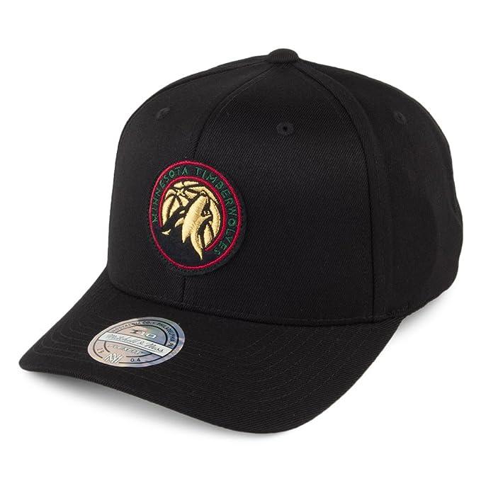 Mitchell   Ness Minnesota Timberwolves INTL236 NBA Luxe 110 Curved Snapback  Cap Black Flexfit One Size efb5bc8ef30