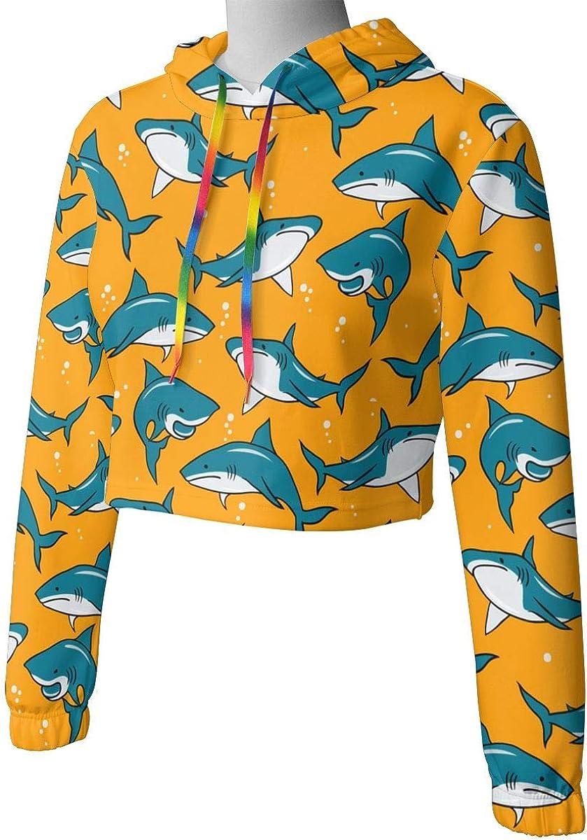 Cute Long Sleeve Sweatshirts Hoody Womens Cartoon Sharks Crop Top Pullover Sweatshirt