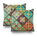 Suesoso Decorative Pillows Case 18''X18'' Set of 2, Two Sides Printed Patchwork Tile Islam Arabic Indian Ottoman Motifs Majolica Pottery Portuguese And Spain Throw Pillow Cover Decorative Home Decor