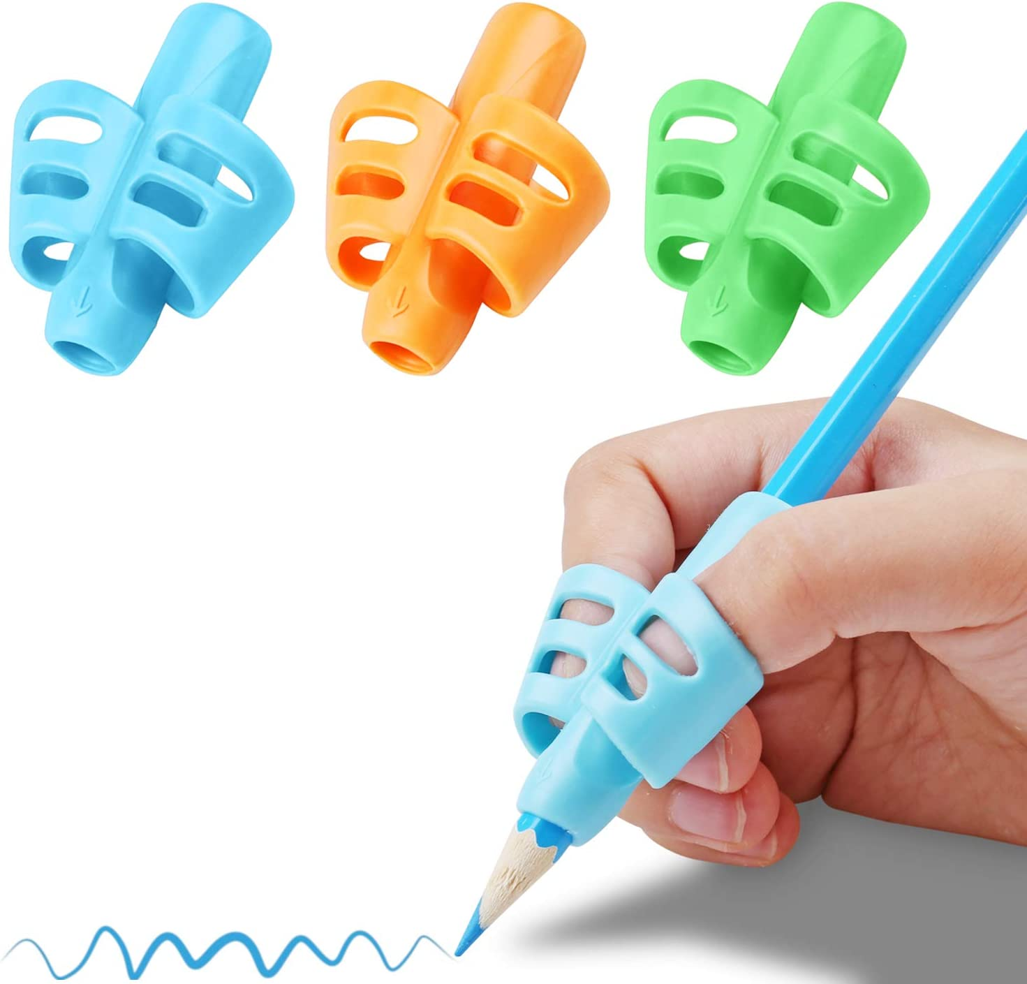 Kids Children Pencil Pen Holder Silicon Grip For Correct Writing Posture