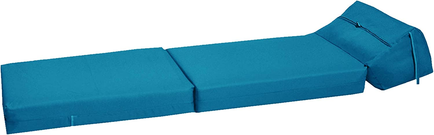 Gilda   Futon Z Chair bed (Jazz Cushion) Outland - Single Clean Coated Polyester Fabric With Bounce Back Fibre Blocks (Indoor And Outdoor) (Water And Stain Resistant)(Royal) Aqua