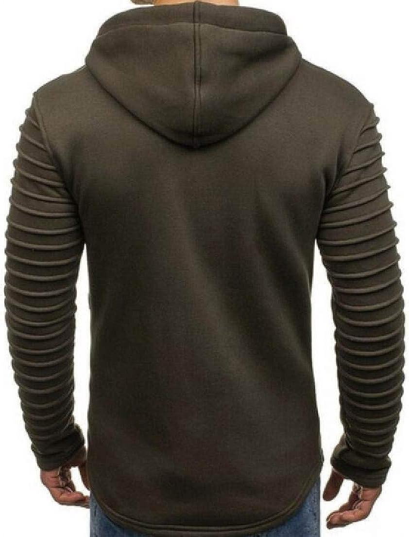 Abeaicoc Men Zip Up Sweatshirt Ruched Long Sleeve Solid Color Hooded Sweatshirt
