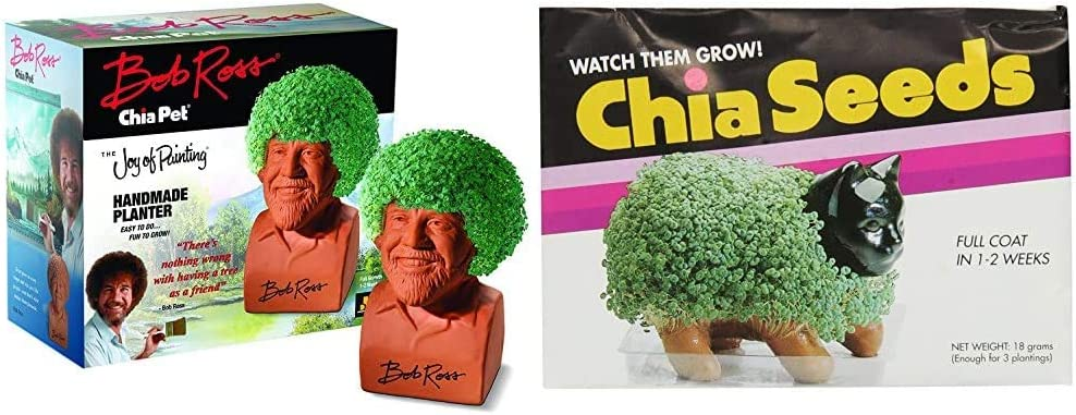 Chia Pet Bob Ross with Seed Pack, Decorative Pottery Planter, Easy to Do and Fun to Grow, Novelty Gift, Perfect for Any Occasion & Seed Pack, 3 Count(Chia pet not Included)