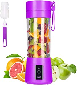 Portable Blender, MIAOKE Smoothie Blender, Personal Mini Juice Blender with Six Blades in 3D, USB Rchargeable Juicer Cup Home/Office/Outdoors, Dark purple