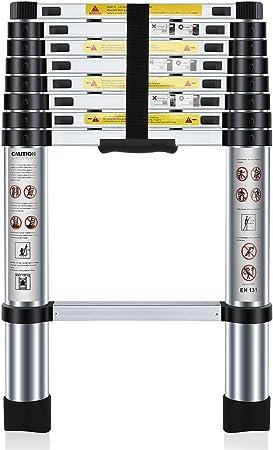 Nestling® 2.6M Escalera Telescópica Multiusos de Aluminio Portátil. Extensión Plegable y Extensible EN131, Carga Máxima 150 kg: Amazon.es: Bricolaje y herramientas