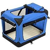 Jespet Deluxe Blue Beige Indoor Outdoor Soft Dog Crate 3 Doors With Fleece