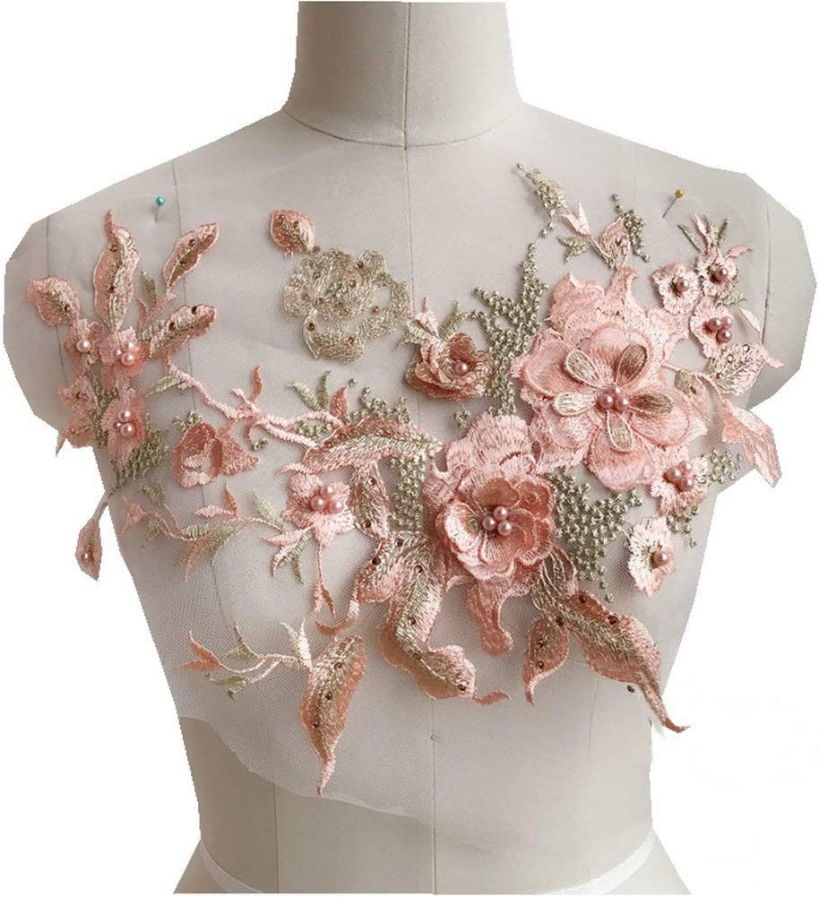 Pearl Beaded 3D Flowers Diy Patch Lace Applique Sew On Patches for Wedding Dress