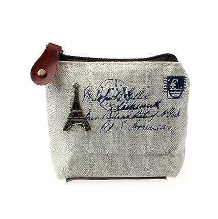 Sannysis Retro bolsa con monedas; Tarjeta Monedero del bolso de la caja; Regalo Torre Eiffel monedero (blanco)
