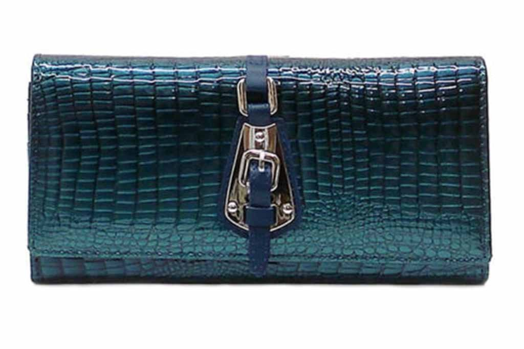 Genuine Leather Croc Pattern Multi Wallet Womens Organizer Clutch Wallet-AW051 Turquoise