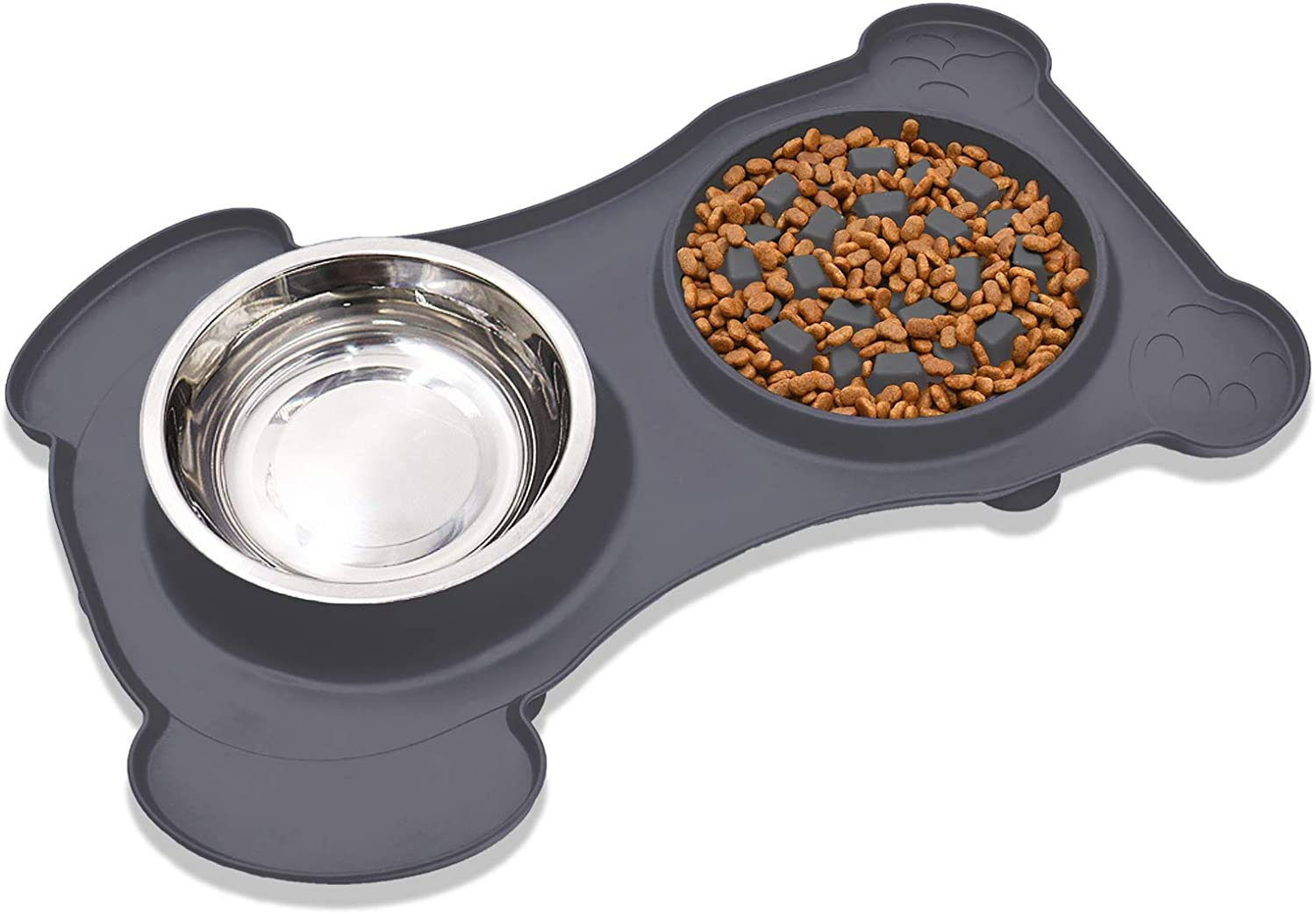 2 in 1 Slow Feeder Dog Bowl & Water Bowl Silicone Set - Stainless Steel Water & Food Dish Bowls with Non-Toxic, No Spill, Non Slip, Silicone Mat for Small / Medium / Large Pet, Grey