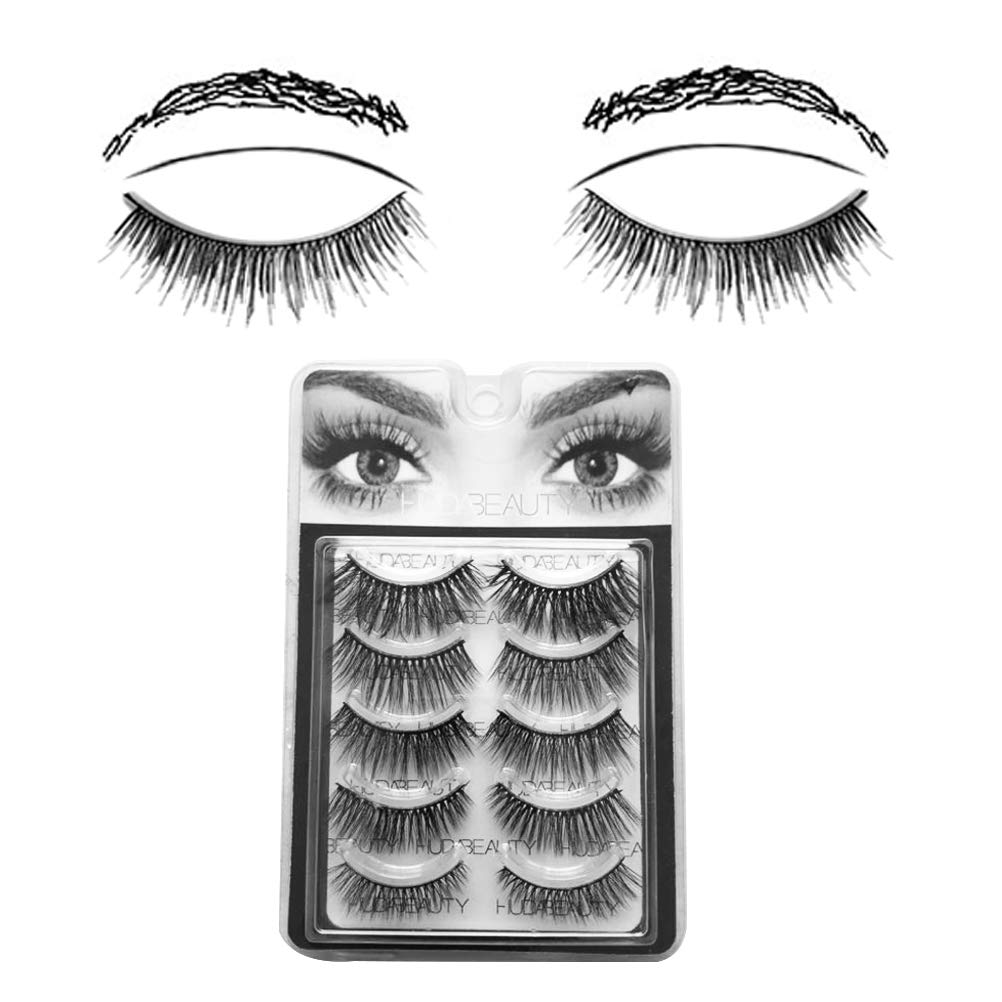 82dfb21b5d6 Fake Eyelashes Natural Wipsy Lashes False Eyelashes Silk False Eyelashes 5  Pairs per Set Multipack Package