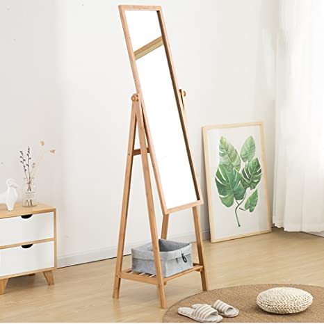 Amazon.com: BJL Wooden Coat Rack,Full-Length Mirror Bamboo ...