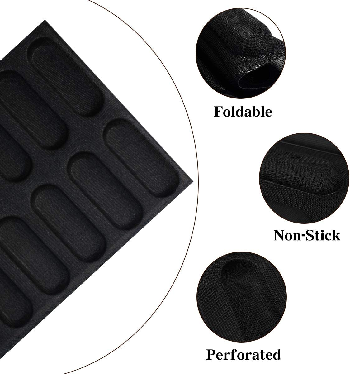 12Loaf,Black Hot Dog Bun Mold Mini Silicone Baguette Mould Non-Stick Baking Form Mini Baby Sandwich Baking Molds Silicone Perforated Baking Forms