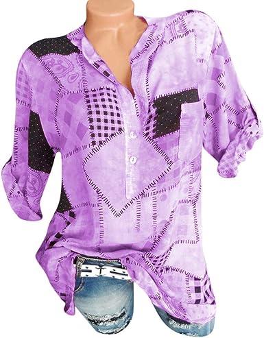 Rcool Camiseta Camisetas Tops y Blusas Camisetas Mujer Manga Corta Camisetas Deporte Mujer Camisetas Mujer, Botón Impresa Camiseta Top de la Camisa: Amazon.es: Ropa y accesorios