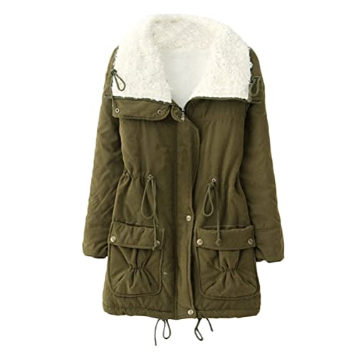 Zhhlaixing Drawstring Thicken Zip Workers Pocket Jackets Cotton Long Sleeved Plus Size Winter Coats ...