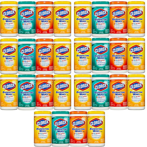 Clorox Disinfecting Cleaning Wipes Value Pack, Crisp Lemon Scent, Fresh Scent and Orange Fusion Scent, 75 Wipes each, 7-Pack ( 28ct ) by *Clorox