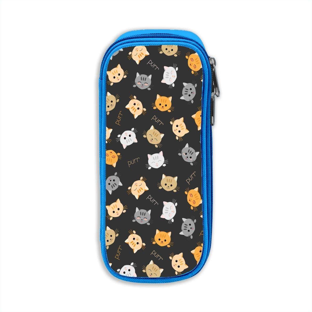 Estuche de tela Oxford para lápices, diseño de gatitos japoneses, unisex, con cremallera, color azul talla única: Amazon.es: Oficina y papelería