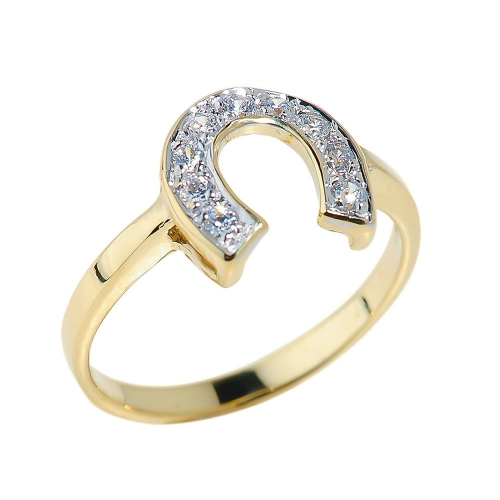 Fine 14k Yellow Gold Lucky Diamond Horseshoe Ring (Size 8)