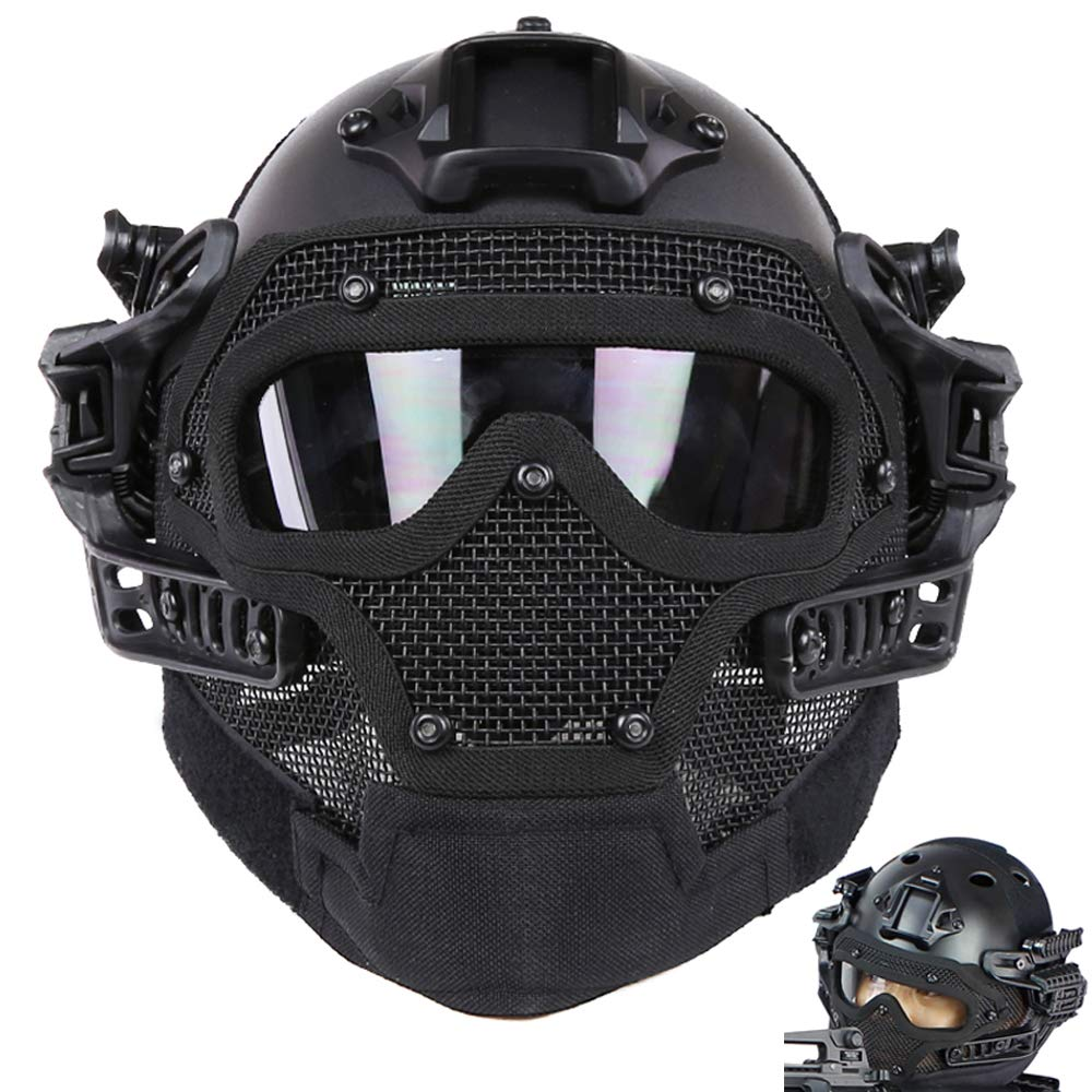 ActionUnion PJ Fast Tactical Helmet Airsoft Full Face Mask with Goggles Molle Mesh Breathable Eye Protection for Military CS Paintball Shooting Hunting Cycling Motorcycle Outdoor Sport by ActionUnion