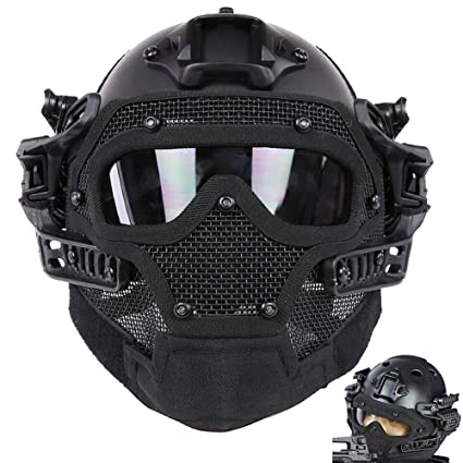 Back To Search Resultshome Tactical Metal Mesh Full Face Mask Neck Protection Airsoft Paintball Military Black