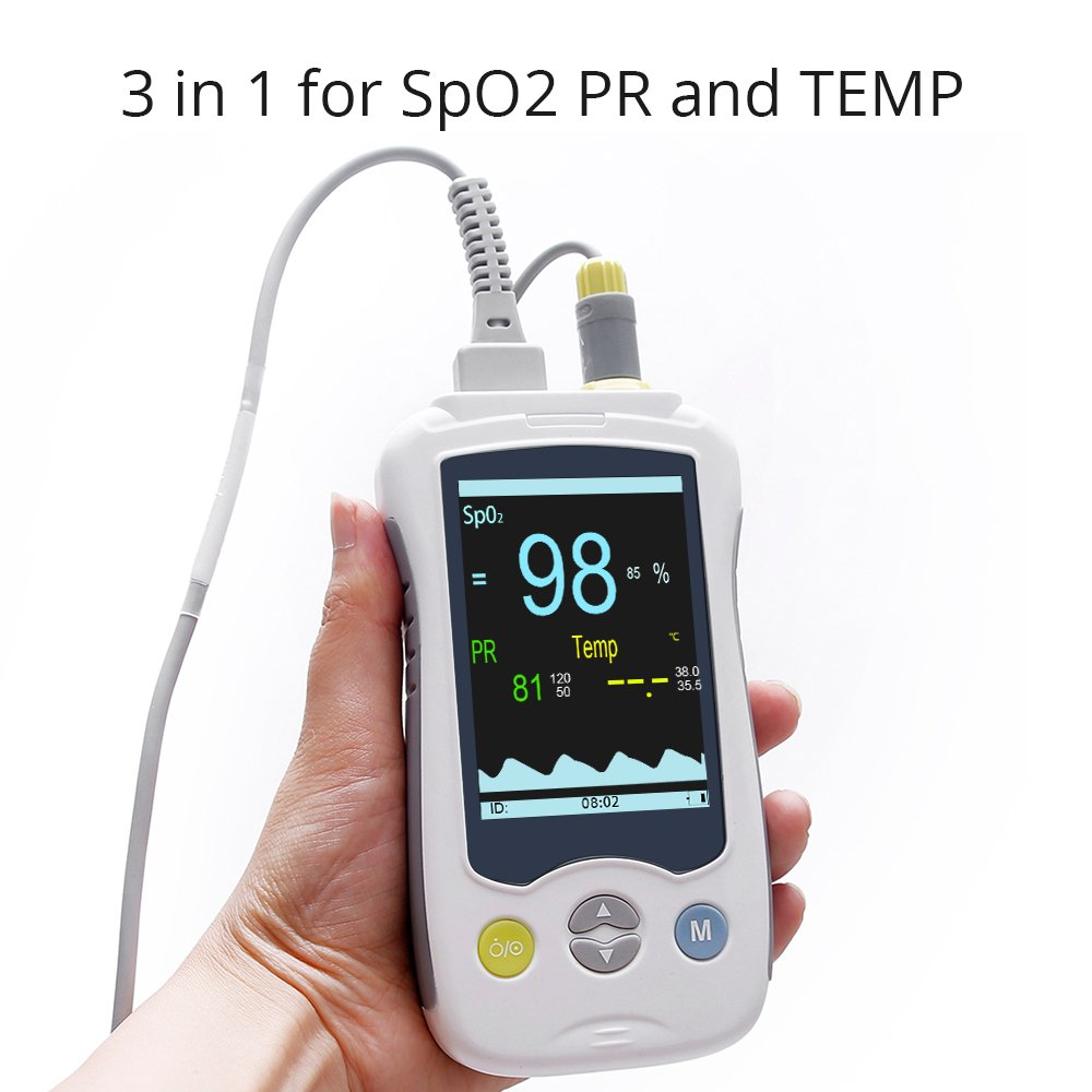 Handheld Pulse Oximeter Fingertip with Body Temperature Function Blood Oxygen Saturation Health Monitor 3.5inch LCD Display Probe Optional Yonker YK-820B - Adult(Lithium Battery)