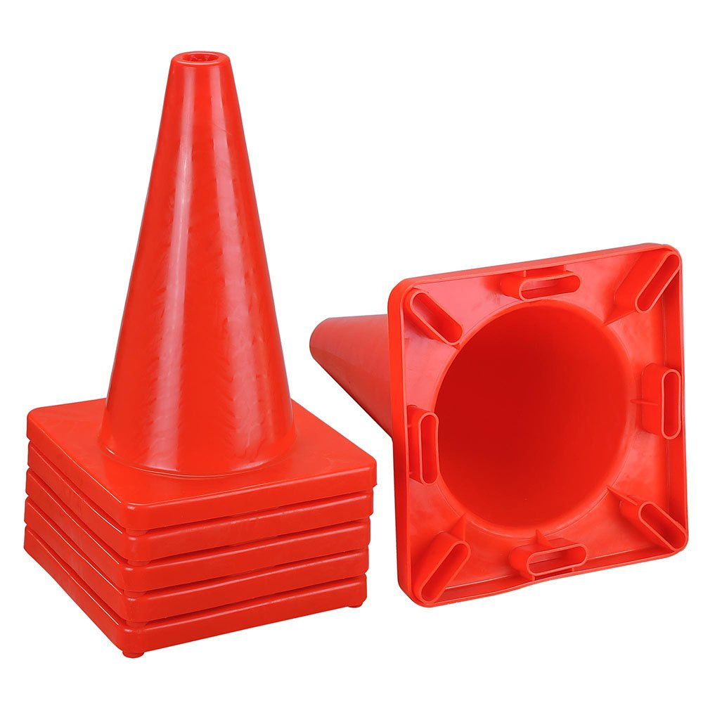 Yescom 18'' Height Red PVC Safety Plastic Traffic Cones without Collar Set of 6pcs