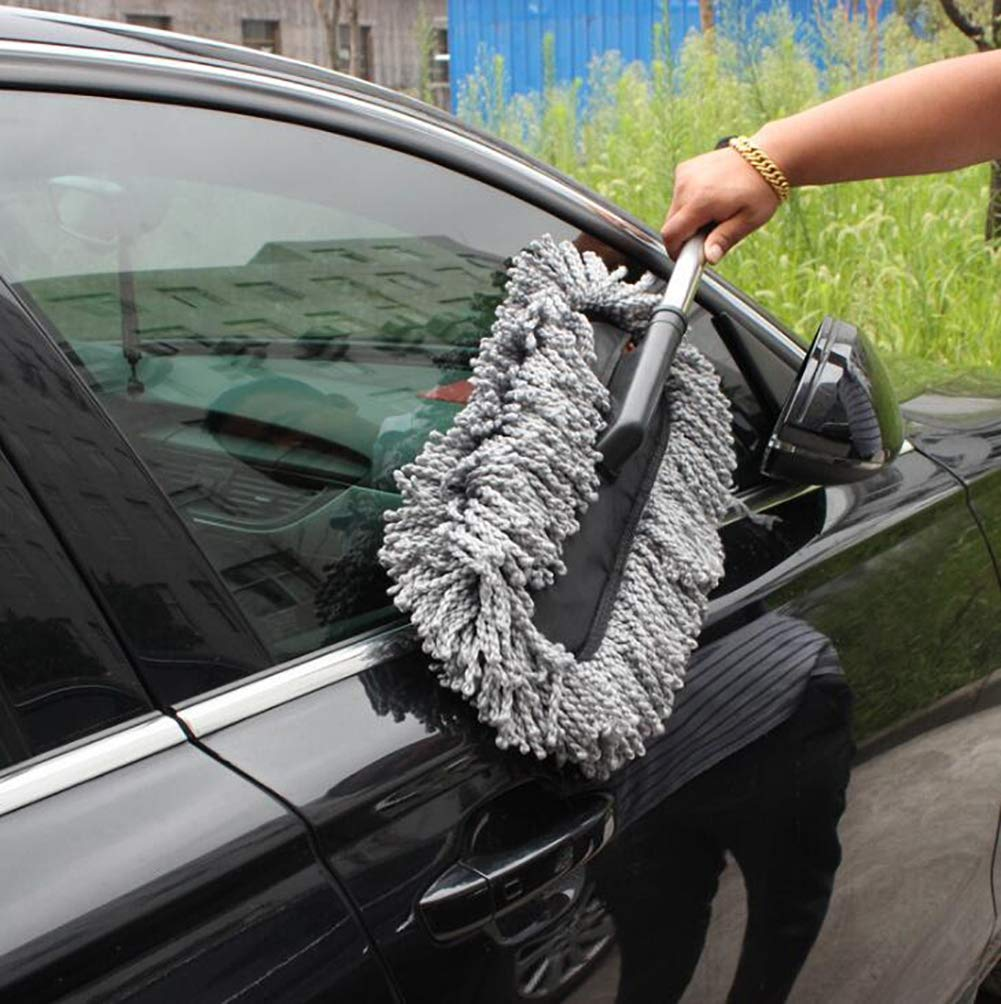 Lupure Car Big Duster Wash Brush, Long Retractable/Soft/Non-Slip/Handle to Trap Dust and Pollen Microfiber Exterior Interior Wash Cleaner Brush,Grey by Lupure (Image #3)