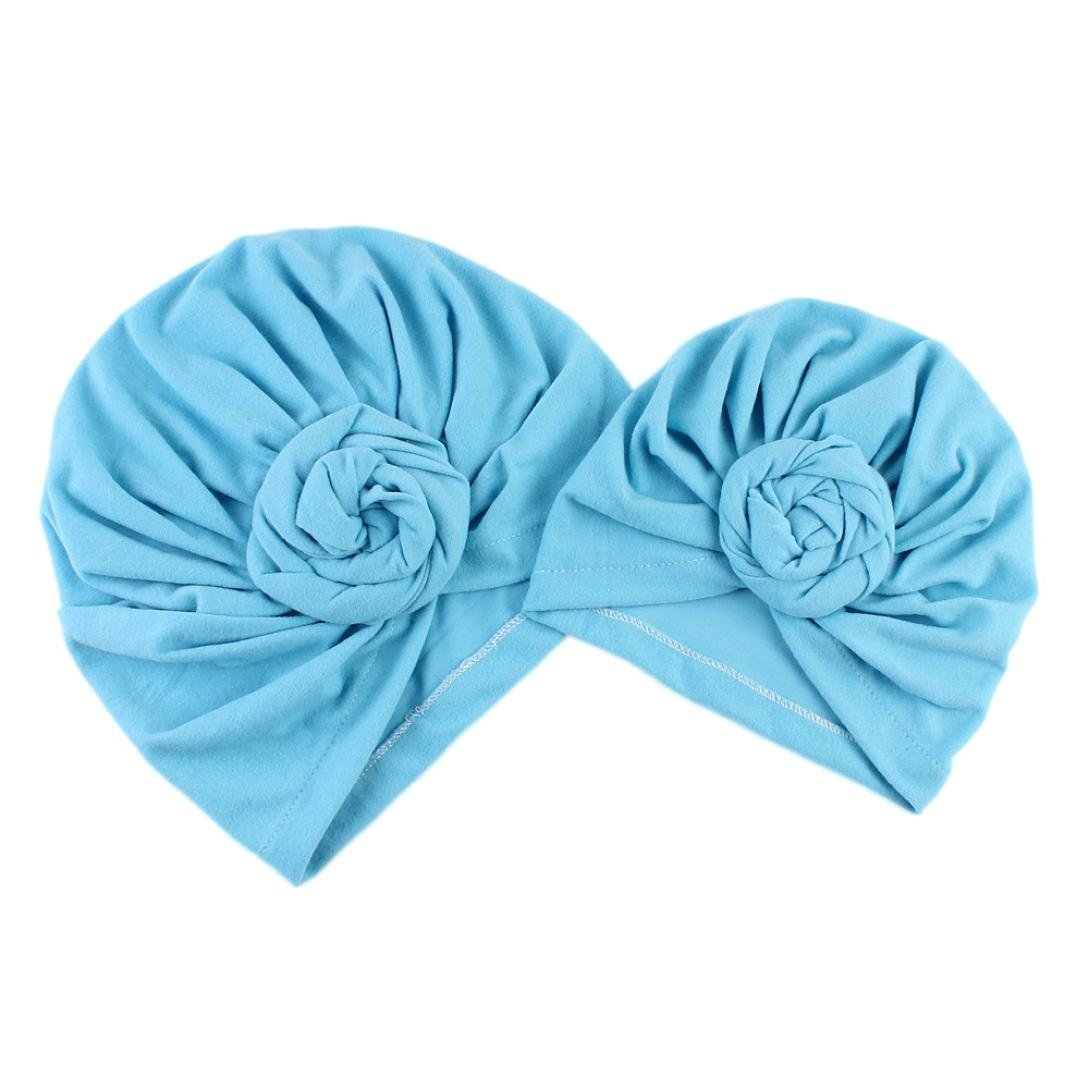 Iuhan 2PCS Winter Warm Mom/&Newborn Baby Boy Girl Hats India Style Ruffle Headwrap