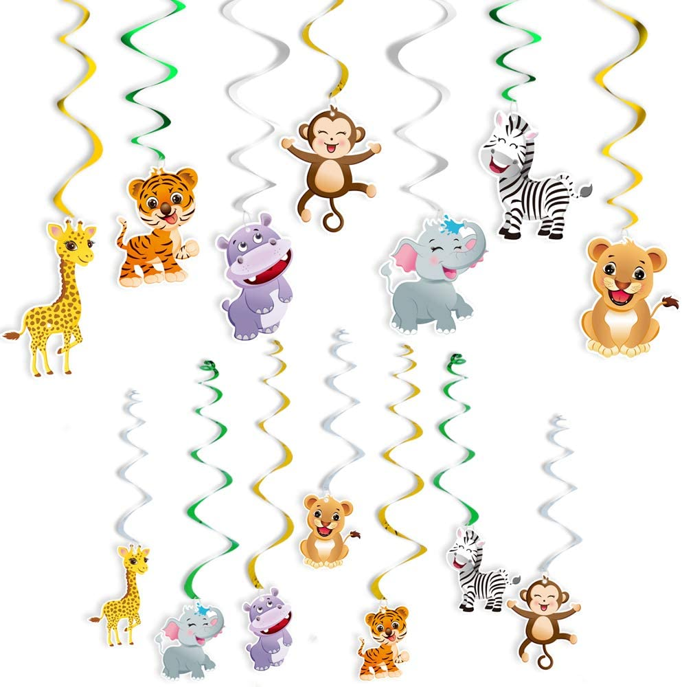 WERNNSAI Jungle Animals Hanging Party Supplies - Safari Theme Party Decorations Wild Animals Hanging Swirl for Kids Birthday, Baby Shower Decor