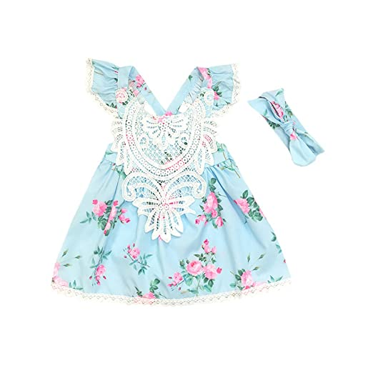 Toddler Kids Baby Girls Sleeveless Princess Dress Headband Girls Outfits Clothes