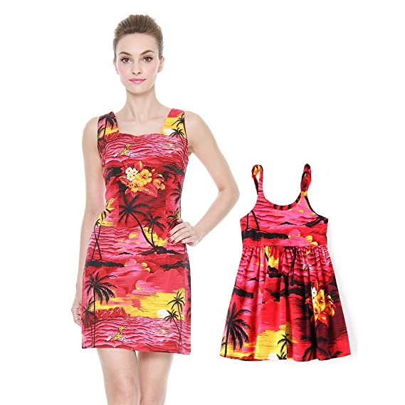 e36ede653f Matching Mother Daughter Hawaiian Luau Outfit Lady Tank Dress Girl Dress PW  Red Sunset  Amazon.co.uk  Clothing