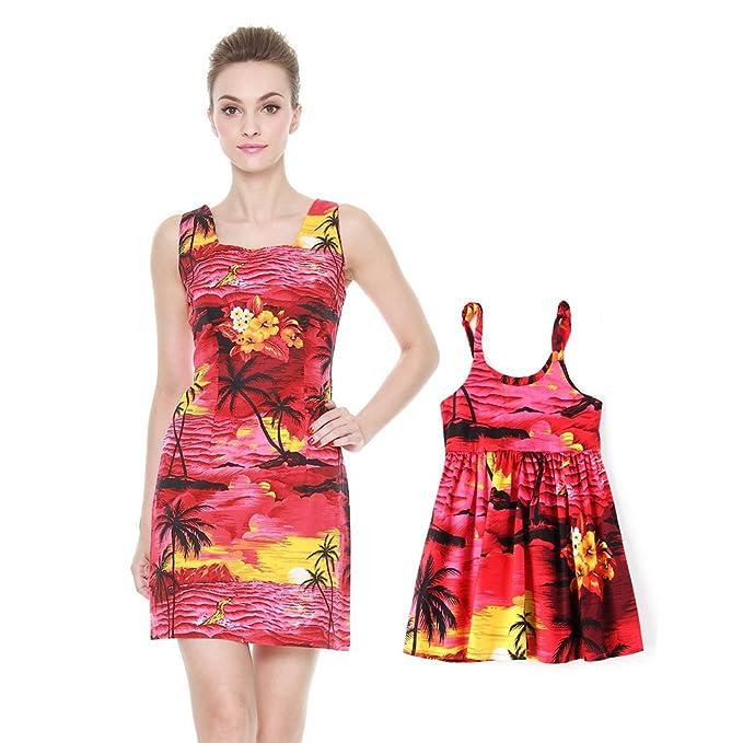 d1a68ff57 Hawaii Hangover Matching Madre Hija Hawaiano Luau Equipo Dama Tanque y Vestir  Vestido de niña PW Puesta de Sol roja  Amazon.es  Ropa y accesorios