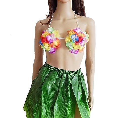 Amosfun Sujetador Hawaiano para Mujer Colorido Floral ...